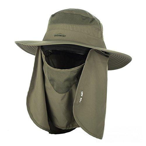 Overmont Schutzkappe Sonnenhut mit breiter Krempe Hut Anti UV-Schutz 360° für Frauen Männer Jagd Camping Angeln Wandern Radfahren