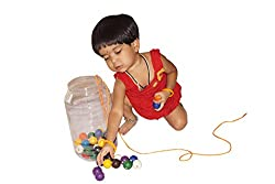 ABC Kids World Wooden Round 100 Beads of 10 Colours in a Jar