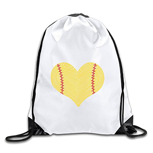 yiyuanyuantu I Love Softball Heart Polyester Drawstring Backpack Tote Sport Bag Home Travel Sport Storage Use (Home Columbia Adler)