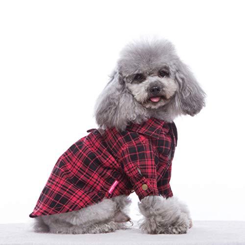 Cat Kostüm Annahme - AMURAO Hundeshirt Kleidung für kleine Welpen Chihuahua Cat Jacken Plaid Pet Kostüme Large Dog Short Sleeve