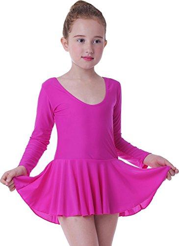 Seawhisper Ballettanzug Mädchen Ballett Tütü Kinder Ballettkleid- Gr. Höhe 135cm, Lange Ärmel Rose