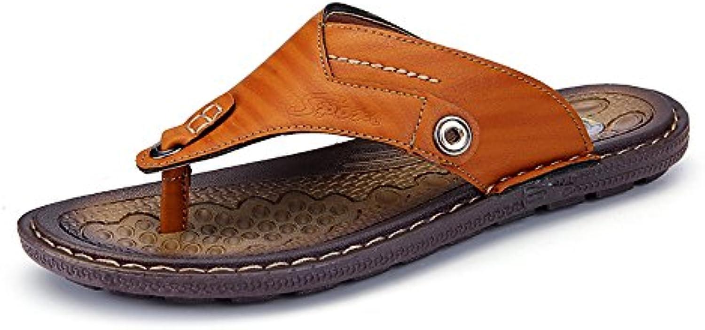 Juans shoes  Herren Sandalen  Männer Casual Thong Flip Flops Strand Hausschuhe PU Leder Handarbeit Naht Rutschfeste