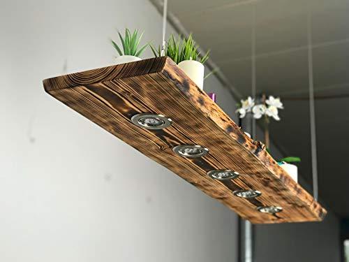 Blockholz-Schmiede Holz Pendellampe Lärche geflammt Smart Home, Osram 5W Dimmbar Warmweiß, Größe: 100cm 4 LEDs