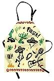 ABAKUHAUS Messicano Grembiule da Cucina, Cartone Famoso degli Oggetti con Fiesta Taco Chitarra Pianta Cactus Nachos, Lavabile a Lavatrice Resistente all'Acqua Non sbiadenti, Multicolore