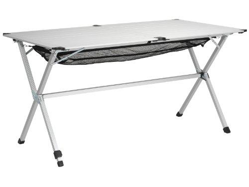 Campart travel tavolo da campeggio ta-0806 – 140 x 80 cm – alzata avvolgibile – rete in maglia