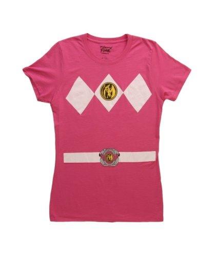 Power Rangers Pink Kostüm Junior Fuschia T-Shirt (Medium)