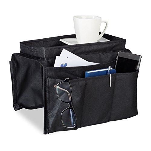 Relaxdays Armlehnen Organizer, Sofa Butler mit integriertem Tablett, 6 Taschen, faltbar, Polyester, H x B x T: ca. 22 x 18 x 31 cm, schwarz (Platz Stoff-sofa)