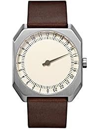 slow Jo 17 - Dark Brown Vintage Leather Silver Case Creme Dial Unisex Quartz Watch with Beige Dial Analogue Display and Dark Brown Leather Strap