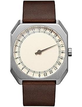 slow Jo 17 - Schweizer unisex Einzeigerarmbanduhr analoge 24 Stundenanzeige Leder silber / dunkelbraun