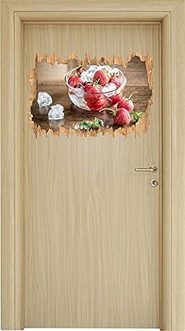 Frische Erdbeeren in Eiswürfeln Holzdurchbruch im 3D-Look , Wand- oder Türaufkleber Format: 62x42cm, Wandsticker, Wandtattoo, Wanddekoration