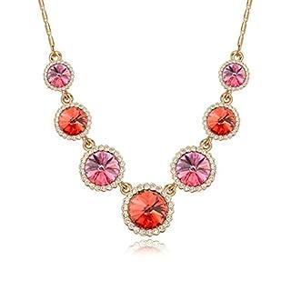 Daesar Schmuck Damenkette Vergoldet Runde Halo Halsketten Zirkonia Anhänger Halskette für Frauen