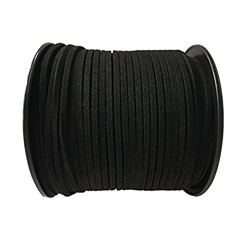 GoFriend 100 Yards Suede Cord Lace Faux Leather Cord Jewelry Making Beading Craft Thread String 3mm (Black 1