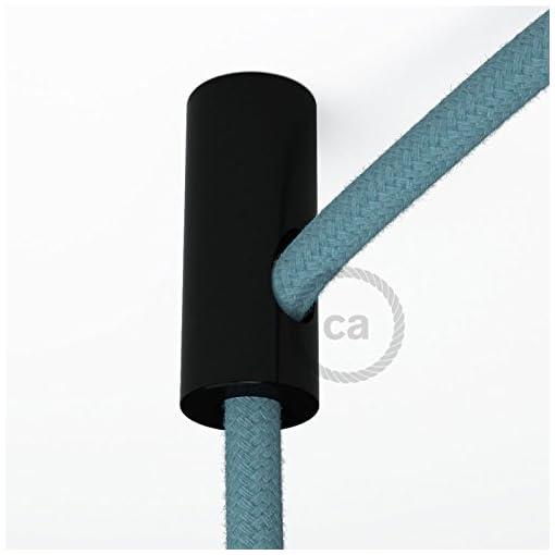 creative cables Decentratore, Gancio a soffitto Nero per Cavo Elettrico Tessile con Fermo.