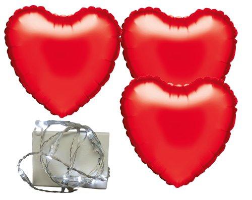 Karaloon F1004H-S - 3 Herzballons, 18 Zoll mit Lichterkette LED, 1 m, rot