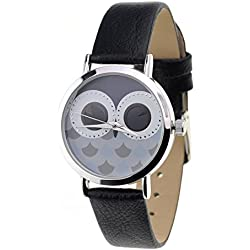 Unisex Geneva Stainless Steel Back Owl Face Dial Black Faux Leather Strap Watch