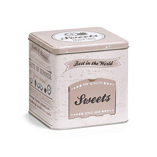 Zeller 19161 Boîte à Bonbons avec Rabat Sweets, rectangulaire, métal, décor, 15 x 15 x 15.2 cm