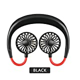 Portable Hands-free Fan - Neck Band Hanging USB Rechargeable Fan for Running, Climbing or Yoga - Mini Air Cooler for Summer (Black)