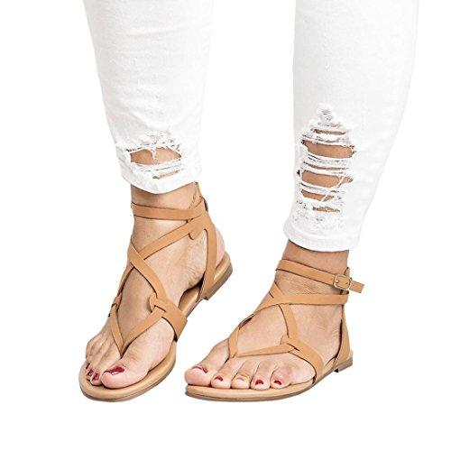 Beikoard -30% promozione della moda sandali donna taco sandali da spiaggia allacciati traspiranti da donna con tacco alto da donna (marrone, 37)