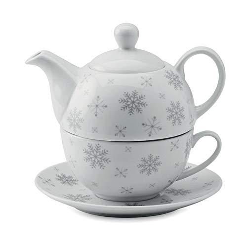 noTrash2003 Tee Set Teekanne Kaffeekanne Tasse Schneeflocken