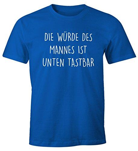 Lustiges Herren T-Shirt mit Spruch Die Würde des Mannes ist unten tastbar Fun-Shirt Moonworks® Blau