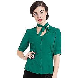 Blusa de Voodoo Vixen Clara con lazo en el cuello en estilo vintage - Verde (M - ES 38)