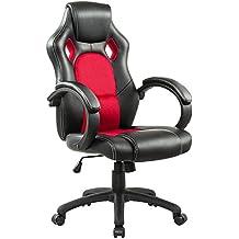 IntimaTe WM Heart Silla de escritorio de oficina de PU, Racing,asiento giratorio del escritorio del ordenador, Negro