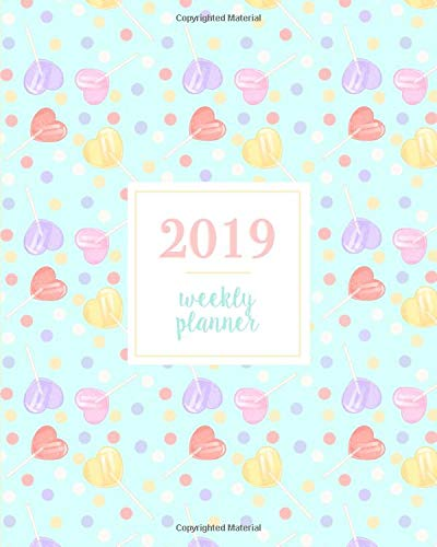 2019 Weekly Planner: Kawaii Heart Shaped Red Purple Pink and Yellow Lollipops, Weekly and Monthly Standard Professional Calendar | 1 January - 31 December 2019 (Glitter Sprinkles Pink)