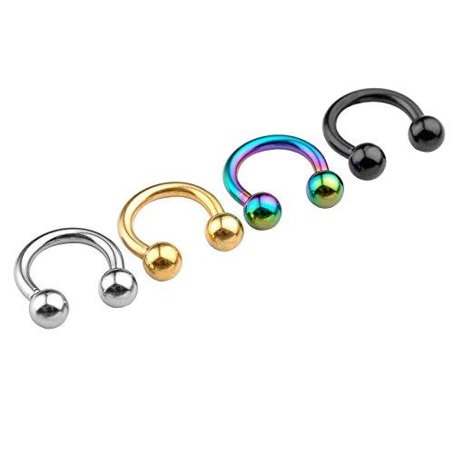 PiercingJ 4 Paare 1.6mm Edelstahl Ohrring Lippen Nase Zungen Piercing Septum Ring Hufeisen Circular Barbell (Innendurchmesser 8mm)