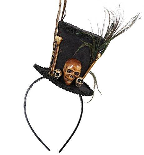 Partychic Gurimo-texHaarreif Vooddoo, Kleiner Zylinder mit Knochen Schädel und Federn Halloween/Horror