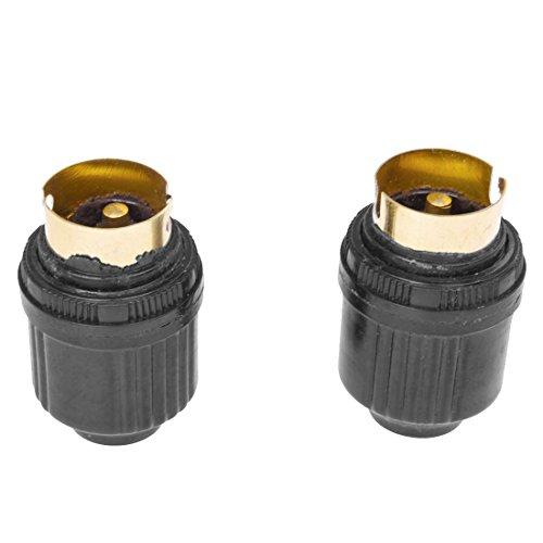 TOOGOO(R) 2 Pcs Boitier en plastique noir AC 250V 4A Laiton B22 Lumiere Ampoule Lampe Support