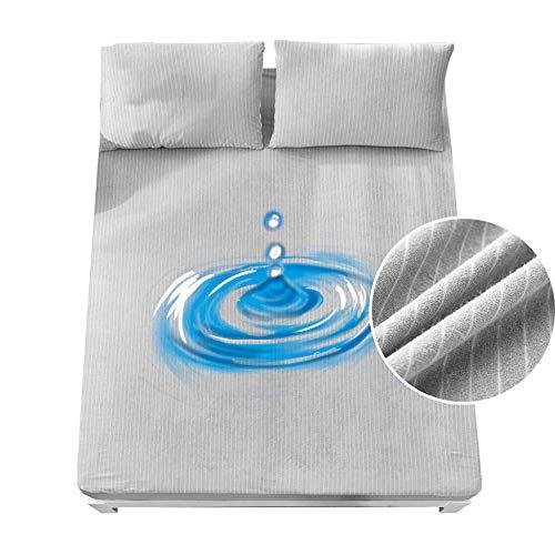 PLIENG Matratzenschoner Polyester Baumwolle Streifen Wasserdicht rutschfeste Bettdecke Baby Bettnässen, Altenpflege, Gesunden Schlaf,Gray-100x200+30cm(39x79+12in)