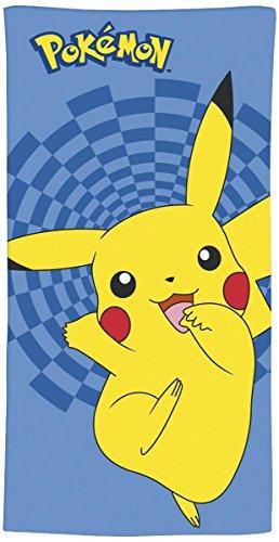 Pokémon Badetuch 70cm x 120cm Pikachu 100% Baumwolle Velours-Qualität Pokemon Let's Go Evoli Schwert und Schild Schwarz und Weiß - Strandtuch Handtuch Strandlaken Duschtuch Memmeon Hopplo Chimpep