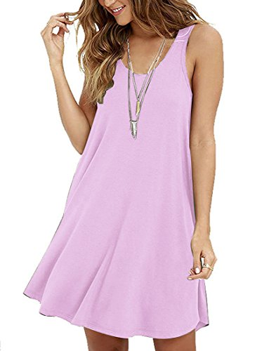 LILBETTER Frauen Ärmelloses Casual Loose Fit T-Shirt Tunika Kleid Swing Kleid Rosa L(EU 42-44)
