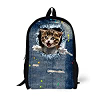Cat Backpack Cute 3D Animal Denim Backpacks CA4915C 42X28X14cm
