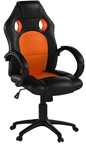 TecTake Sportsitz Chefsessel Stuhl Bürostuhl Racing Schalensitz - Diverse Farben - (Orange)