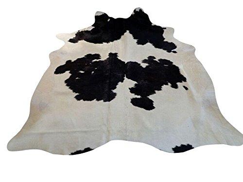 Tapis Peau De Vache Luxe - Noir, Gris et Crème- 205 cm x 175 cm Déco Tapis Intérieur de Narbonne Leather Co