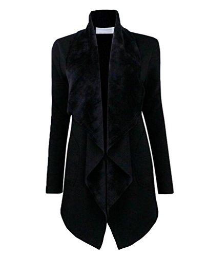 YuanDian Damen Herbst Casual Einfarbig Breite Revers Warme Offene Lange Cardigan Strickjacke Elegante Frauen Mantel Dunkel Grau L