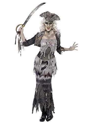 shoperama Zombie Geisterschiff Piratin Damen-Kostüm Rock Jacke Top Hut Untote Piraten-Braut Ghoulina Geist Halloween, Größe:M