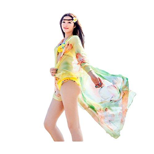 UK_Stone Damen Übergroesse Modisch Tulpen Blumen Muster Sarong Pareo Strandtuch Wickeltuch Bikini Sonnenschutz Decke Cover-up (Grün) (Tulip-rock-muster)