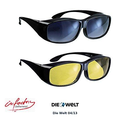 infactory Überbrille: Schärfer-Sehen-Set mit 2 Überziehbrillen Day Vision & Night Vision (Überziehbrille Damen)