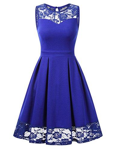 empire kleid kurz KOJOOIN Damen Elegant Kleider Spitzenkleid Ohne Arm Cocktailkleid Knielang Rockabilly Kleid Empire Blau L