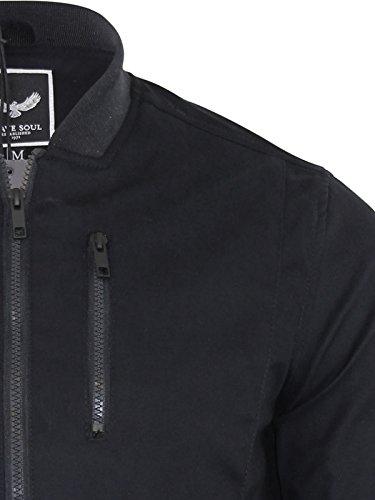 Veste pour homme Bomber Brave Soul Manteau Hall Harrington reconstitué été en coton Noir - Noir