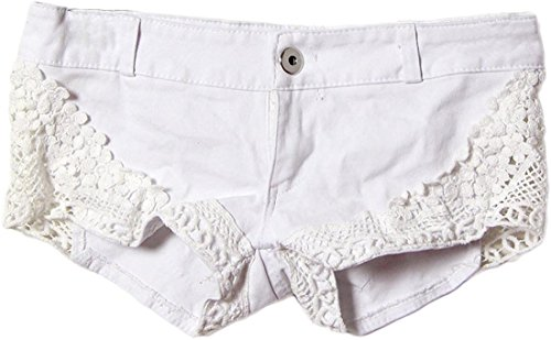 Jeansian Ete Femmes Sexy Jeans Dentelle Shorts Pantalons Hot Women's Sexy Party Club Low Waist Lace Mini Hot Pants WPC023 white