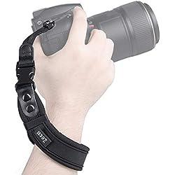 Zecti Sangle Poignet Photo Ajustable en néoprène Bracelet de Poignet pour caméra avec Sangle sécurisée pour appareils Photo Reflex SLR, Nikon, Canon, Panasonic, Leica, Sony, Samsung, Fujifilm