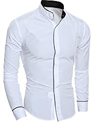 Tefamore Fashion Personality Hommes Casual Slim Chemise à manches longues Top Blouse