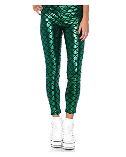 Party Kostüm Das Glänzende Szene - Horror-Shop Grüne Mermaid Leggings als Kostümhose für Karneval & Motto Party S