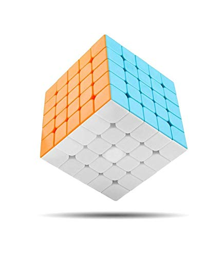 CocoRioTM️ Ultra Smooth 5x5 Magic High Speed Sticker-Less Rubik Cube with Adjustable Speed and Cube