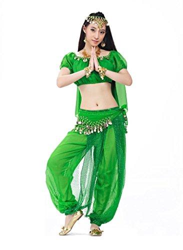Bmeigo Bauchtanz indischen Tanzkleidung Kostüme Head Chain Head Veil Top Hose Waist Chain