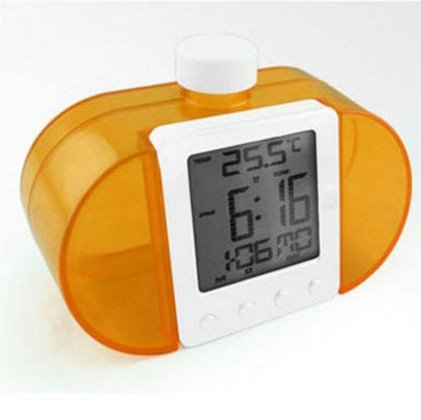 Cunclock Kreative Water Powered Clock mit Zeit Temperatur Digitale LCD-Wecker Schreibtisch Tisch Nixie Uhren Orange (Clock Sonic Alarm Boom)