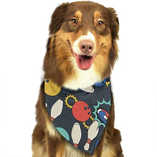 (Wfispiy Bowling Fashion Pet Bandanas Dog Car Neck Scarf for Unisex Pet Boy Girls)